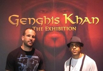 "Juan Carlos and JZ Cavalcante stand before the ""Genghis Khan"" exhibition...could Genghis Con have his own exhibition one day?"