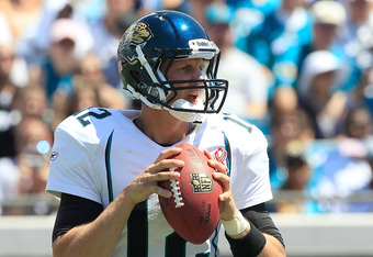 JACKSONVILLE, FL - SEPTEMBER 11:  Luke McCown #12 of the Jacksonville Jaguars attempts a pass during the season opener game against the Tennessee Titans at EverBank Field on September 11, 2011 in Jacksonville, Florida.  (Photo by Sam Greenwood/Getty Image