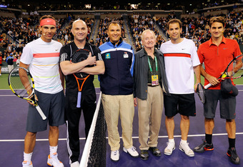 Some of the greatest of all time, including Rafael Nadal (left), Andre Agassi (next to Nadal), Rod Laver (third from right), Pete Sampras (to right of Laver), and Roger Federer (on far right).