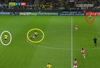 Arsenal goal (1): Hummels and Van Persie battle for the ball (yellow) while Schemlzer (red) is already 30 yards ahead for the attack. Kehl (white) looks to cover for Hummels lost position.