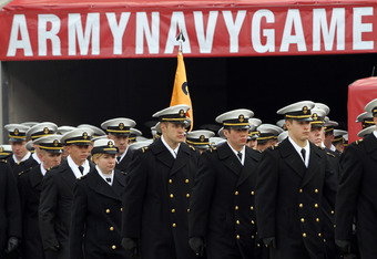 PHILADELPHIA - DECEMBER 11: The Navy Midshipmen march onto the field before the game against the Army Black Knights on December 11, 2010 at Lincoln Financial Field in Philadelphia, Pennsylvania. (Photo by Hunter Martin/Getty Images)