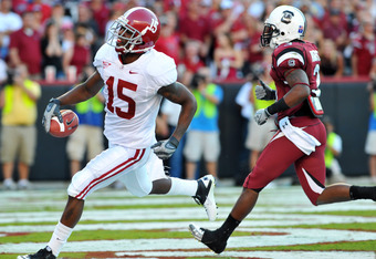 Darius Hanks (15) returns to Alabama's receiving corps this week after averaging 38 yards a game in 2010.  The Tide faces North Texas Saturday night at 6:30 in Tuscaloosa.