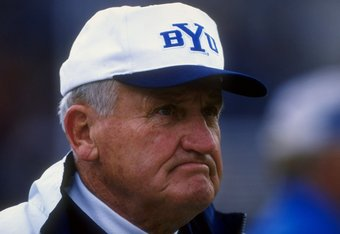 7 Nov 1998:   Head coach LaVell Edwards of the BYU Cougars looks on during the game against the New Mexico Lobos at the Cougar Stadium in Provo, Utah. The Cougars defeated the Lobos 46-21. Mandatory Credit: Tom Hauck  /Allsport