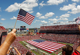 TAMPA, FL - SEPTEMBER 11:  A general view of Raymond James Stadium during the season opener between the Tampa Bay Buccaneers and the Detroit Lions  on September 11, 2011 in Tampa, Florida.  (Photo by Mike Ehrmann/Getty Images)