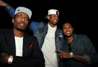 Amar'e Stoudemire and Carmelo Anthony, seen here with rapper Fabolous, enjoyed leisurely activities outside of basketball this summer.