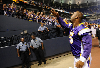 MINNEAPOLIS, MN - SEPTEMBER 1: Donovan McNabb #5 of the Minnesota Vikings throws his hat to fans after the win against the Houston Texans on September 1, 2011 at Hubert H. Humphrey Metrodome in Minneapolis, Minnesota. The Vikings defeated the Texans 28-0.