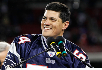 FOXBORO, MA - DECEMBER 06:  Former New England Patriots Tedy Bruschi speaks at the pdium during a halftime ceremony honoring his playing career as the Patriots host the New York Jets at Gillette Stadium on December 6, 2010 in Foxboro, Massachusetts.  (Pho