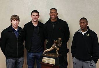 Moore next to Heisman candidates Andrew Luck and Cam Newton, along with RB LaMichael James