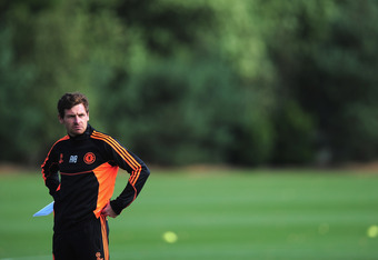 COBHAM, ENGLAND - SEPTEMBER 12:  Manager of Chelsea, Andre Villas-Boas looks on during a Chelsea training session at the Chelsea training centre on September 12, 2011 in Cobham, England.  (Photo by Jamie McDonald/Getty Images)