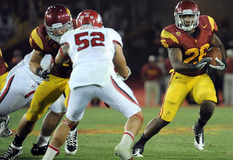 USC RB Marc Tyler had 113 yards on 24 carries and 1 TD and 1 pass reception for 19 yards against Utah Utes