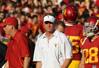 USC Coach Lane Kiffin is frustrated by the lack of offensive scoring in the second half just like everyone else