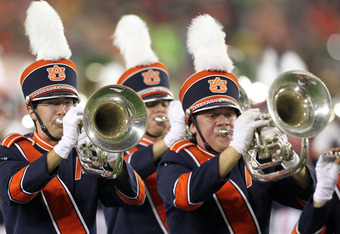 GLENDALE, AZ - JANUARY 10:  The Auburn Tigers marching band performs before taking on the Oregon Ducks in the Tostitos BCS National Championship Game at University of Phoenix Stadium on January 10, 2011 in Glendale, Arizona.  (Photo by Jonathan Ferrey/Get
