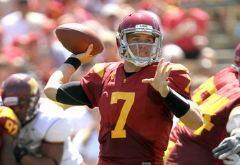 USC QB Matt Barkley is completing 70% of his passes for 568 yards and 4 TDs with 1 INT in two games. His completion percentage jumps to 82% if there were no dropped passes.