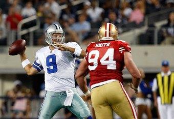 ARLINGTON, TX - AUGUST 29:  Quarterback Tony Romo #9 of the Dallas Cowboys at Cowboys Stadium on August 29, 2009 in Arlington, Texas.  (Photo by Ronald Martinez/Getty Images)