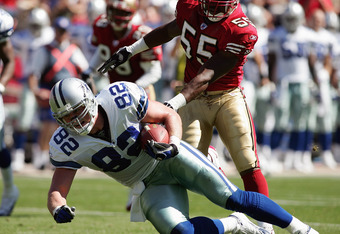 SAN FRANCISCO - SEPTEMBER 25:  Tight end Jason Witten #82 of the Dallas Cowboys goes down with the ball during a game against the San Francisco 49ers at Monster Park on September 25, 2005 in San Francisco, California.  The Cowboys won 34-31. (Photo by Jon