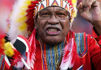 LANDOVER, MD - OCTOBER 23:  Washington Redskins fan Chief Zee cheers during the second half of the game against the San Francisco 49ers on October 23, 2005 at Fed Ex Field in Landover, Maryland. The Redskins defeated the 49ers 52-17.  (Photo by Jamie Squi