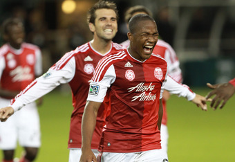 Darlington Nagbe reacts after his goal in the 66th minute