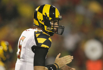 COLLEGE PARK, MD - SEPTEMBER 05: Quarterback Danny O'Brien #5 of the Maryland Terrapins lines up against the Miami Hurricanes at Byrd Stadium on September 5, 2011 in College Park, Maryland.  (Photo by Rob Carr/Getty Images)