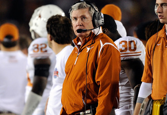PASADENA, CA - JANUARY 07:  Head Coach Mack Brown of the Texas Longhorns looks on from the sidelines during the Citi BCS National Championship game against the Alabama Crimson Tide at the Rose Bowl on January 7, 2010 in Pasadena, California.  (Photo by Ke