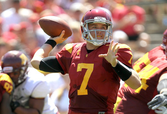 USC QB Matt Barkley has 71 percent completions after two games in 2011, and that increases to 82 percent without drops