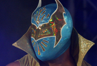 DURBAN, SOUTH AFRICA - JULY 08:  WWE Superstar Sin Cara is introduced during the WWE Smackdown Live Tour at Westridge Park Tennis Stadium on July 08, 2011 in Durban, South Africa.  (Photo by Steve Haag/Gallo Images/Getty Images)