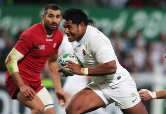 DUNEDIN, NEW ZEALAND - SEPTEMBER 18:  Manu Tuilagi of England breaks on the way to scoring his try during the IRB 2011 Rugby World Cup Pool B match between England and Georgia at Otago Stadium on September 18, 2011 in Dunedin, New Zealand.  (Photo by Davi