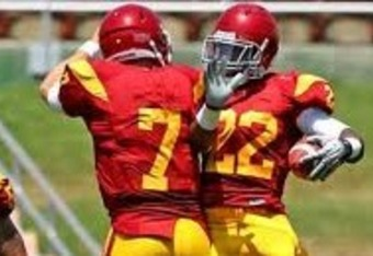RB Curtis McNeal and QB Matt Barkley celebrate