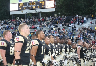 Army Players Sing Alma Mater After Victory