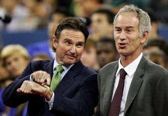 NEW YORK - AUGUST 28:  Tennis legend Jimmy Connors (L) and John McEnroe attend the opening ceremony on the first day of the US Open at the USTA Billie Jean King National Tennis Center in Flushing Meadows Corona Park on August 28, 2006 in the Flushing neig