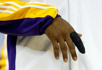 SAN ANTONIO - JANUARY 12:  The injured right index finger of Kobe Bryant #24 of the Los Angeles Lakers  on January 12, 2010 at AT&T Center in San Antonio, Texas.  NOTE TO USER: User expressly acknowledges and agrees that, by downloading and/or using this