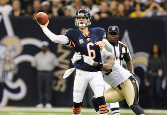 NEW ORLEANS, LA - SEPTEMBER 18:  Jay Cutler #6 of the Chicago Bears throws under pressure at the Louisiana Superdome on September 18, 2011 in New Orleans, Louisiana.  The Saints defeated the Bears 30-13.  (Photo by Stacy Revere/Getty Images)