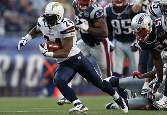 FOXBORO, MA -  SEPTEMBER 18:   Ryan Mathews #24 of the San Diego Chargers gains yardage against the New England Patriots in the second half at Gillette Stadium on September 18, 2011 in Foxboro, Massachusetts. (Photo by Jim Rogash/Getty Images)