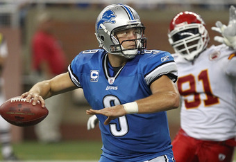Matthew Stafford threw four touchdown passes in the 48-3 massacre over the Chiefs.