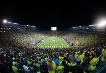 ANN ARBOR, MI - SEPTEMBER 10:  General view of the fans filling the University of Michigan Stadium prior to the start of the game between the Michigan Wolverines and the Notre Dame Fighting Irish on September 10, 2011 in Ann Arbor, Michigan.  (Photo by Le