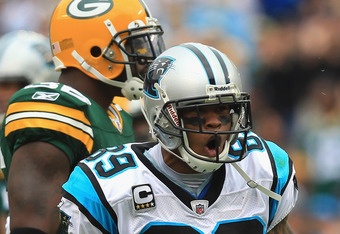 CHARLOTTE, NC - SEPTEMBER 18:  Steve Smith #89 of the Carolina Panthers reacts to catching a pass against the Green Bay Packers during their game at Bank of America Stadium on September 18, 2011 in Charlotte, North Carolina.  (Photo by Streeter Lecka/Gett