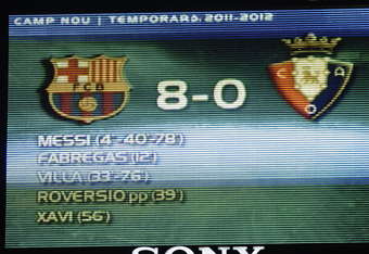 BARCELONA, SPAIN - SEPTEMBER 17:  The final result is pictured on the score board at the end of the La Liga soccer match between FC Barcelona and CA Osasuna at Camp Nou Stadium on September 17, 2011 in Barcelona, Spain. FC Barcelona won 8-0.  (Photo by Da