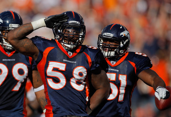 Von Miller performs his version of the Mile High Salute after earning his first career sack.
