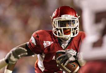 FAYETTEVILLE, AR - SEPTEMBER 17:  Joe Adams #3 of the Arkansas Razorbacks runs the ball against the Troy Trojans at Donald W. Reynolds Razorback Stadium on September 17, 2011 in Fayetteville, Arkansas.  The Razorbacks beat the Trojans 38 to 28.  (Photo by