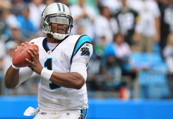 CHARLOTTE, NC - SEPTEMBER 18:  Cam Newton #1 against the Green Bay Packers during their game at Bank of America Stadium on September 18, 2011 in Charlotte, North Carolina.  (Photo by Streeter Lecka/Getty Images)