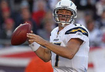 FOXBORO, MA -  SEPTEMBER 18:   Philip Rivers #17 of the San Diego Chargers throws a pass against the New England Patriots at Gillette Stadium on September 18, 2011 in Foxboro, Massachusetts. (Photo by Jim Rogash/Getty Images)