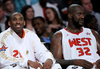 PHOENIX - FEBRUARY 15:  (L-R) Kobe Bryant #24 and Shaquille O'Neal #32 of the Western Conference sit together on the bench during the 58th NBA All-Star Game, part of 2009 NBA All-Star Weekend at US Airways Center on February 15, 2009 in Phoenix, Arizona.