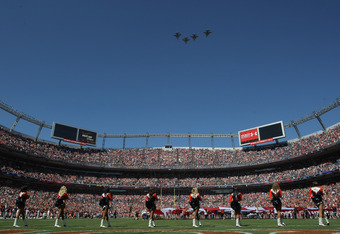 DENVER, CO - SEPTEMBER 18:  US Air Force fighter jets perform a fly over during the national anthem as the Cincinnati Bengals face the Denver Broncos at Sports Authority Field at Mile High on September 18, 2011 in Denver, Colorado. The Broncos defeated th