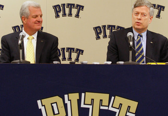 PITTSBURGH - SEPTEMBER 18:  (L - R) University of Pittsburgh athletic director Steve Pederson and Chancellor Mark Nordenberg speak during a press conference following the acceptance of the University of Pittsburgh into the Atlantic Coast Conference on Sep