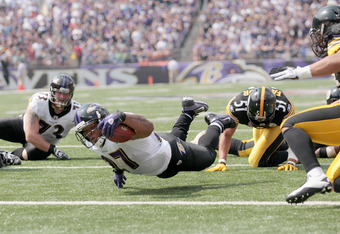 BALTIMORE, MD - SEPTEMBER 11:  Running back Ray Rice #27 of the Baltimore Ravens dives for the endzone against the Pittsburgh Steelers during the season opener at M&T Bank Stadium on September 11, 2011 in Baltimore, Maryland.  (Photo by Rob Carr/Getty Ima