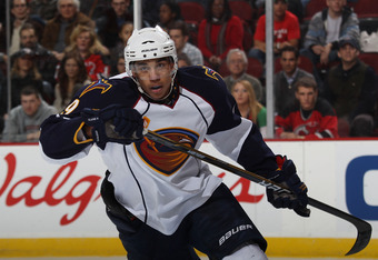NEWARK, NJ - MARCH 15:  Evander Kane #9 of the Atlanta Thrashers skates against the New Jersey Devils at the Prudential Center on March 15, 2011 in Newark, New Jersey. The Devils defeated the Thrashers 4-2.  (Photo by Bruce Bennett/Getty Images)