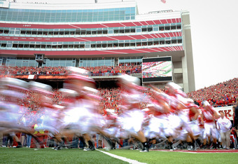 LINCOLN, NE - SEPTEMBER 17: The Nebraska Cornhuskers take the field before their game against the Washington Huskies at Memorial Stadium September 17, 2011 in Lincoln, Nebraska. Nebraska won 51-38.(Photo by Eric Francis/Getty Images)