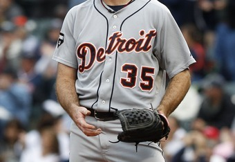 CLEVELAND, OH - SEPTEMBER 7:     Detroit Tigers pitcher Justin Verlander #35 watches as Shelley Duncan #47 (not pictured) of the Cleveland Indians rounds the bases after hitting a two run home run - his second of the game -during the fourth inning of thei