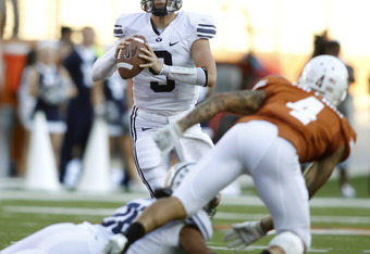 AUSTIN, TX - SEPTEMBER 10:  Quarterback Jake Heaps #9 of the BYU Cougars drops back to pass against the Texas Longhorns on September 10, 2011 at Darrell K. Royal-Texas Memorial Stadium in Austin, Texas.  Texas defeated BYU 17-16. (Photo by Erich Schlegel/