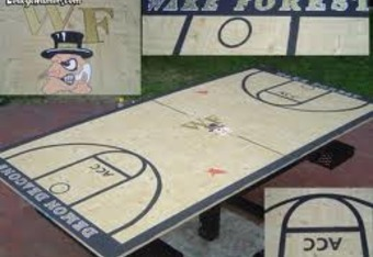 With all the free time that students have now that there's no reason to go to the games, it's no wonder they made a replica basketball court/pong table.