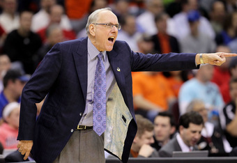 CLEVELAND, OH - MARCH 18: Head coach Jim Boeheim of the Syracuse Orange gestures from the bench during the game against the Indiana State Sycamores during the second round of the 2011 NCAA men's basketball tournament at Quicken Loans Arena on March 18, 20